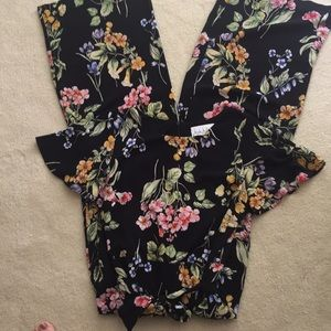 Nicole Miller Studio Black Floral Jumpsuit Size 8